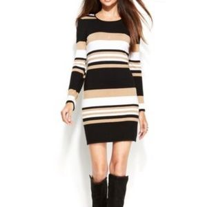 INC Striped Sweater Dress with Vegan Leather Trim